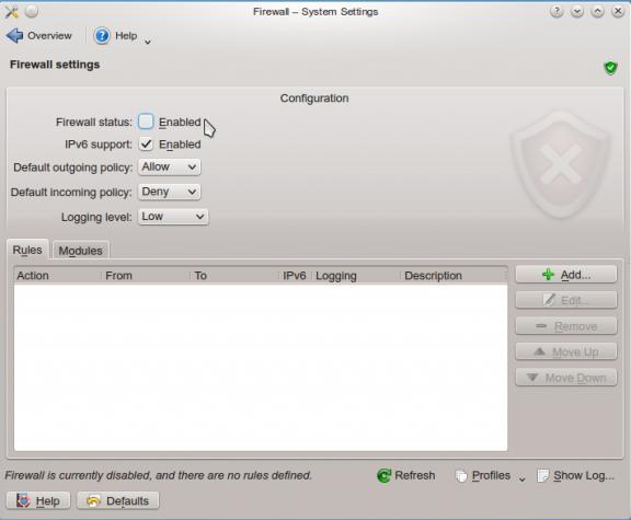 SolydXK KDE 2013.1 ufw firewall