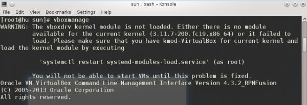 VirtualBox kernel module error Fedora 19