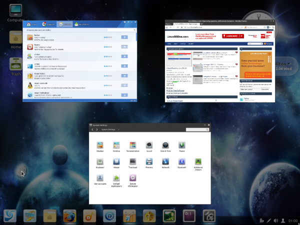 Linux Deepin desktop scaled view