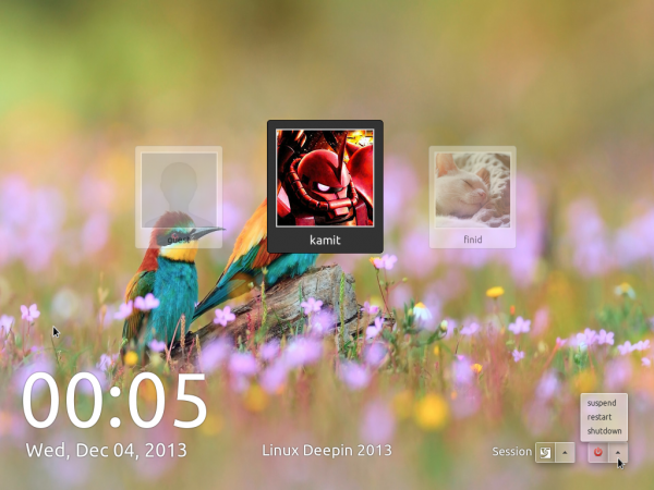 Linux Deepin 2013 login screen