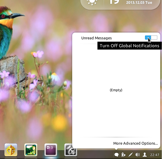 Linux Deepin 2013 dock notification widget