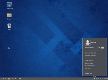 Default desktop of Fedora 20 Cinnamon.
