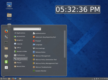 Default desktop of Fedora 20 Cinnamon showing the menu.