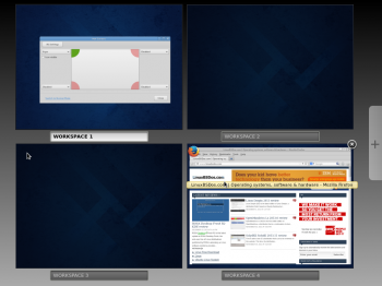 By default, there are four workspaces or virtual desktops on Fedora 20 Cinnamon. The only way you can see them is by the Expo view of the desktop, which is activated by hitting the Hot Corner, located at the top-left of the desktop.