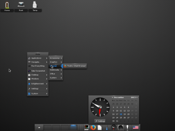 Another view of the default desktop on Fedora 20 E17.