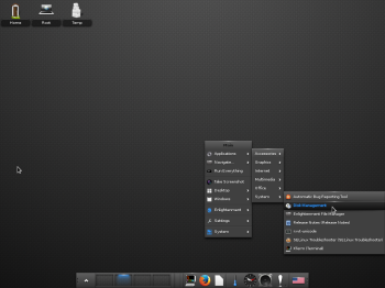 Yet another view of the default desktop on Fedora 20 E17.