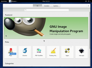 GNOME Software is an integrated graphical package manager on GNOME 3 desktop. It is still a work in progress, but already looks very