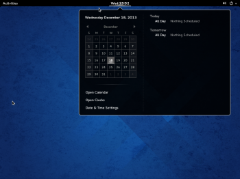 The default desktop on Fedora 20 GNOME 3. What you get is a GNOME Sh