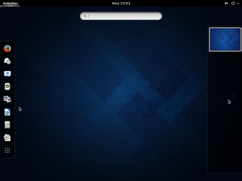 The activities view on Fedora 20 GNOME 3.