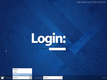 The login screen of Fedora 20 LXDE.
