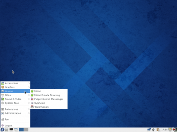Another view of the desktop menu on Fedora 20 LXDE.