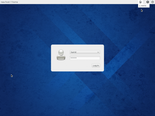Fedora 20 MATE login screen