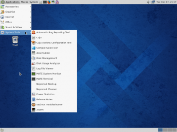 Fedora 20 MATE desktop showing the classic menu. After using other desktops whose menus have a search box, using the MATE desktop feels very limiting.