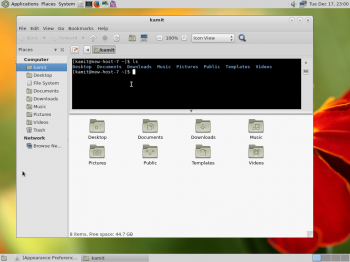 Caja, the file manager on Fedora 20 MATE sports a shell terminal in the top section.