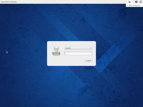 Fedora 20 Xfce login screen