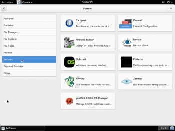 Apps in a specific category on GNOME Software running on Fedora Rawhide.