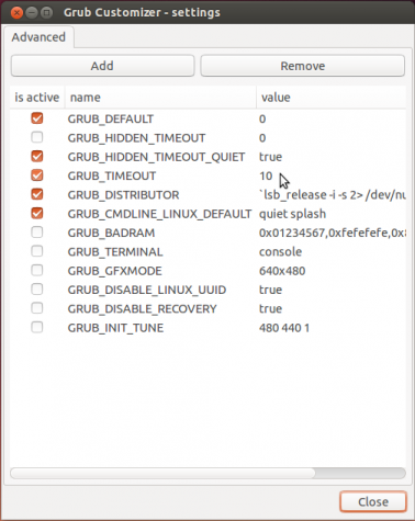 GRUB Customizer advanced settigns