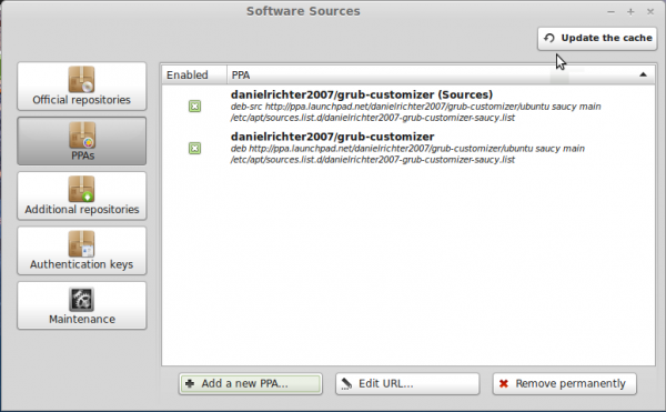 GRUB Customizer PPA Linux Mint