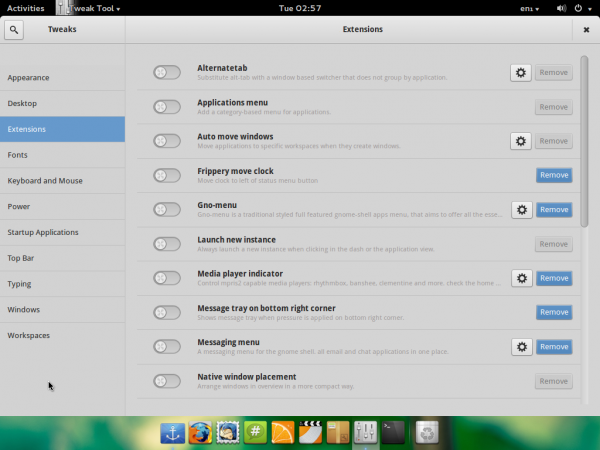 Pinguy 13.10 GNOME Tweak Tool