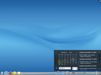 The KDE calendar widget on ROSA Desktop Fresh R2 desktop.