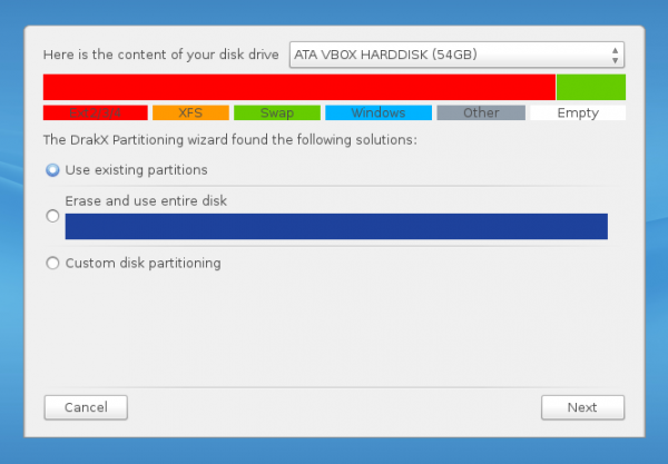 ROSA Desktop Fresh disk partitions
