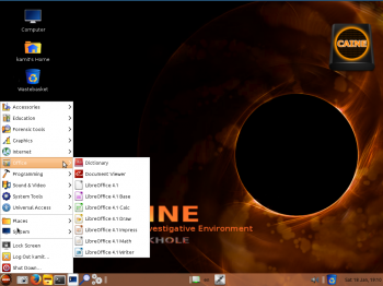 The desktop of CAINE 5 showing the installed applications in the Office menu category. LibreOffice 4.1 is the installed Office application.