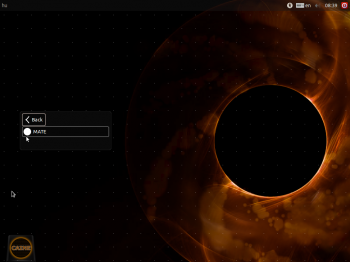 The login screen of CAINE 5 showing the lone entry in the Session menu. To state the obvious, MATE is the desktop environment used on CAINE 5.