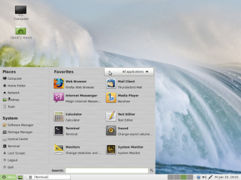 The menu of the MATE desktop showing the Favorite applications. It's not that much different from that of the Cinnamon desktop.