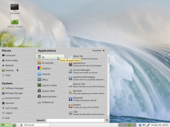 The menu of the MATE desktop showing the Applications view.