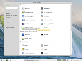 The Control Center of the MATE desktop. As with the Cinnamon desktop, most