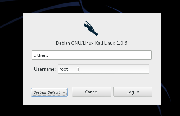 Kali Linux 1.0.6 root password toor