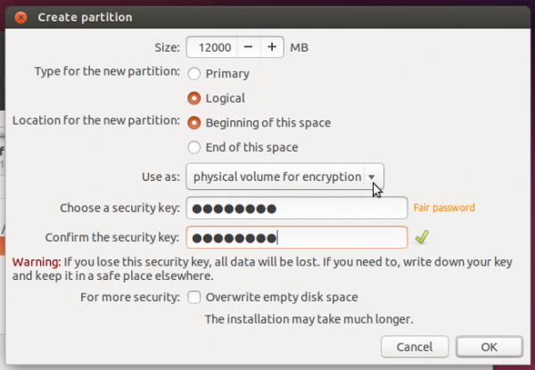 Ubuntu create LVM root partition