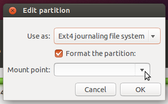 Ubuntu partition mount points