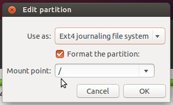 Ubuntu mount point for root