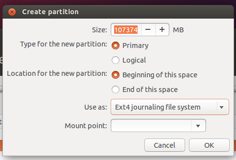 Create partitions ubuntu