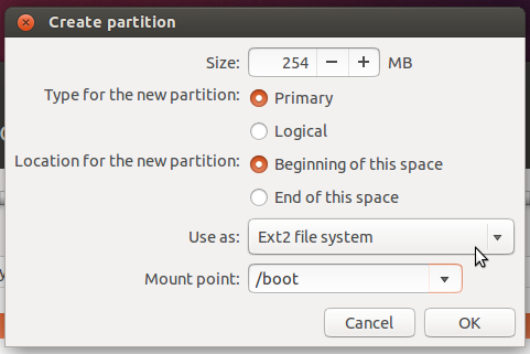 Create boot partition ubuntu