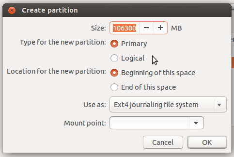 Linux Mint 16 partition editor