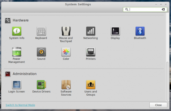 Linux Mint 16 Cinnamon System Settings