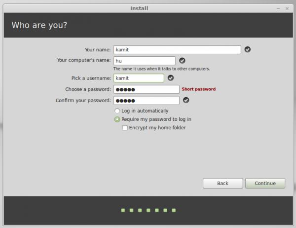 Linux Mint 16 user set up