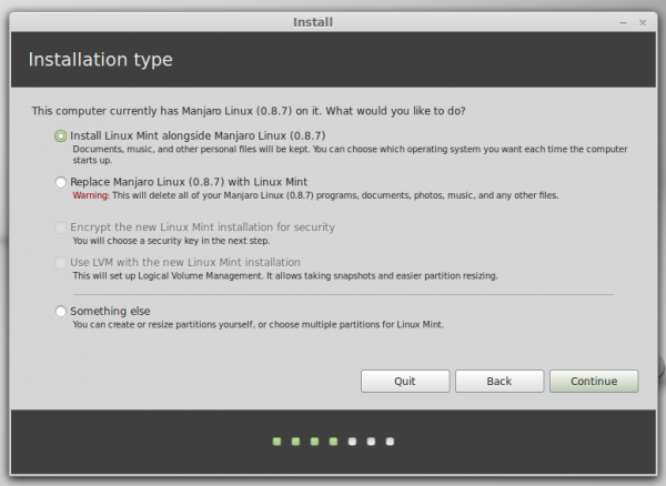 Linux Mint 16 partition methods