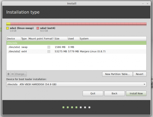 Linux Mint 1d advanced partition tool
