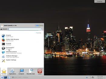 Linux Mint 16 KDE desktop showing the Kickoff menu, the default menu style.