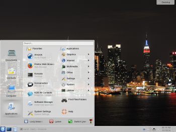 The Lancelot menu is another style of menu available for the KDE desktop. It is similar to the menu style on the