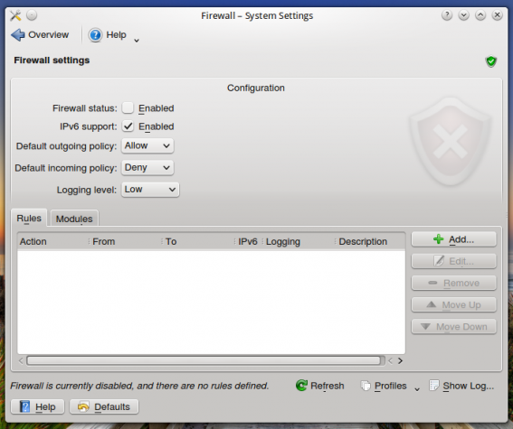 Linux Mint 16 KDE Firewall