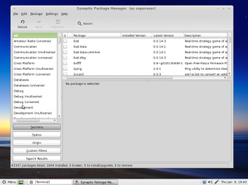 Linux Mint MATE desktop showing the Synaptic Package Manager. It is the other graphical package manager installed by default.