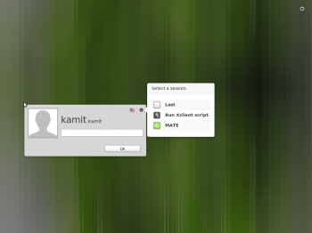 The login screen of Linux Mint 16 MATE edition.