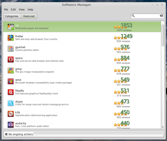 Linux Mint Software Manager featured apps