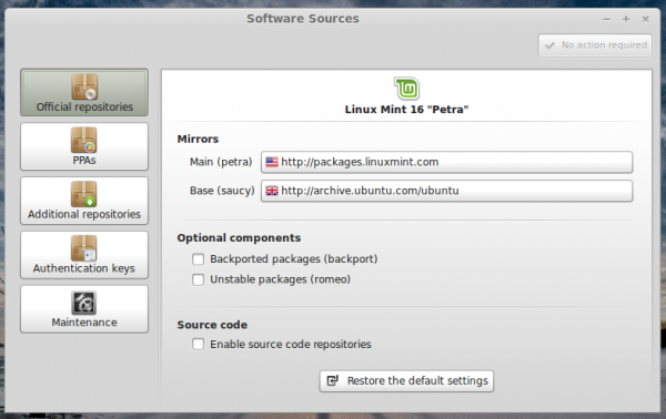 Linux Mint 16 Software sources