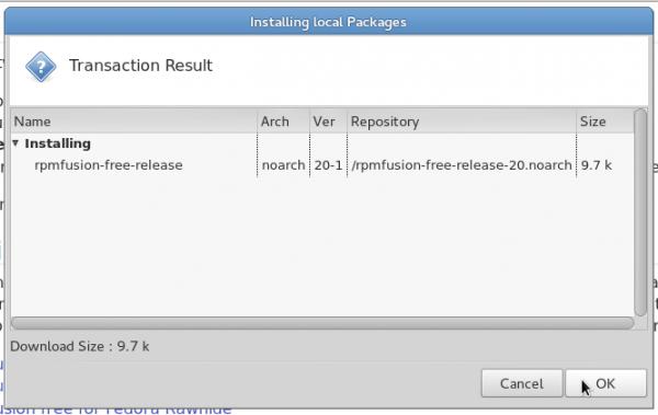 RPM Fusion non-free Fedora 20