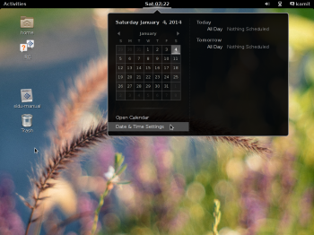 The GNOME 3 desktop on Siduction 2013.2 showing the desktop calendar.